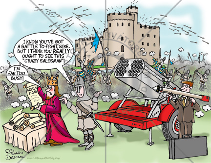 Crazy salesman cartoon, there's a battle going on and the king isn't listening to his main man who has the solution to all his problems. A missile launcher that will wipe out the enemy. War in background of cartoon, arrows flying everywhere.