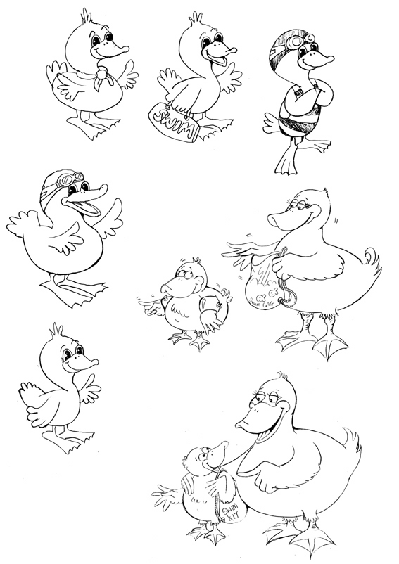 Initial cartoon sketches for a duck cartoon character development