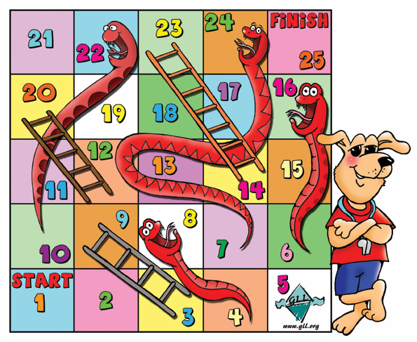 snakes and ladders cartoon game.