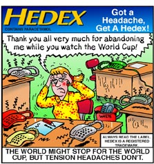 promotional cartoon for Hedex. Loads of phones riniging around stressed lady at work