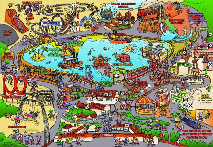 Cartoon Map for American Adventure Theme Park illustrating various rides that included Black Hole, The Missle, Rocky Mountain Rapids, Supa Karts, Yankee Clipper, Flying Island to mention a few.