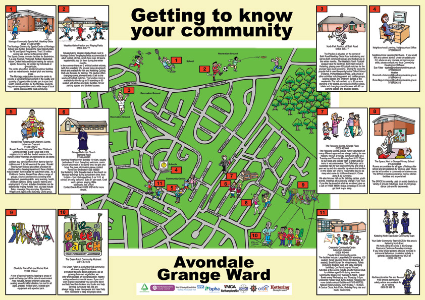 Cartoon Map - Getting To Know Your Community! Cartoon map of Avondale Grange Ward showing various activities that take place in the area. These are earmarked on the map and then illustrated with small informative boxes around the map.