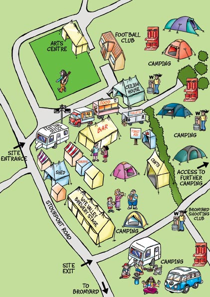 Cartoon Map for a festival. Illustrating where the bars, toilets, arts, car parks, entrance, camping facilities and crafts centre is