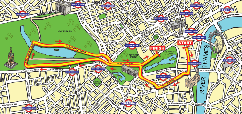 Cartoon Map For London Fun Run - illustrating landmarks and tube stations, more details roads which were later removed to simplify the map.