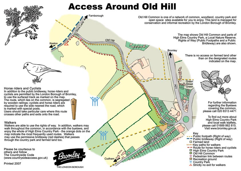 Cartoon Map for Access Around old Hill - illustrating Old Hill Common is one of a network of common, woodland, country park and  open space  sites available for you to enjoy.  This land is managed for conservation and informal recreation by the London Borough of Bromley.