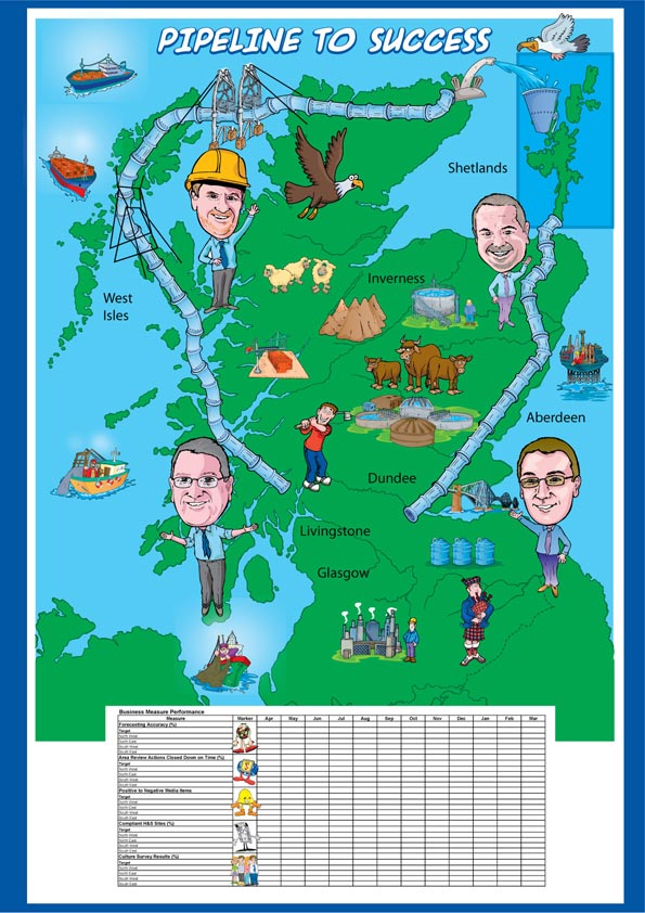 Cartoon Map for Pipeline To Success! Cartoon of pipeline going around Scotland. Used as a business measure performance wall map. Illustrating various managers with personalised caricatures.