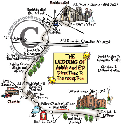Cartoon Map - Wedding Map - to help guests get to the church, then from the church to the reception.