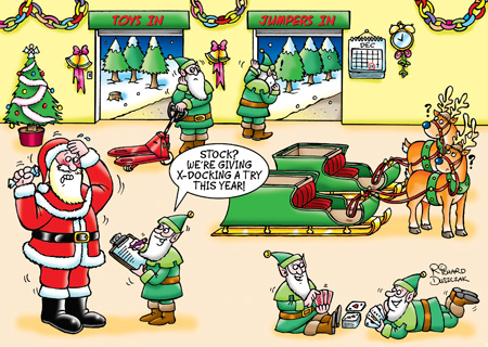 "Corporate cartoon Christmas card design showing Santa's Grotto with Santa and Elves, reindeer and sleigh. One elf is saying to a stressed Santa Claus ""Stock? We're giving X-docking a try this year!"" A couple of elves lay on the floor playing cards."
