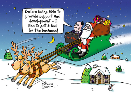 "Cartoon christmas card design with guy from North Derbyshire Tec sat next to Santa on flying sleigh. He says to Santa ""Before being able to provide support and development - I like to get a feel for the business!"""