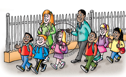 Cartoon Characters Walking To School. to and from school using