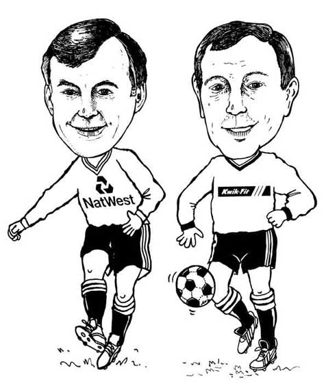 Hire a cartoonist to draw caricatures. Caricature of two guys playing football, one from Quik-fit and the other from NatWest bank
