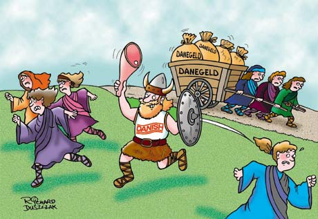 Cartoon for Danish bacon promotion. cartoon of viking chasing women with a big leg of bacon