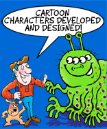 Rod and scraggy standing next to a green four eyed monster with antenna like ears tell how the Cartoon Studio provide cartoon character design and creation
